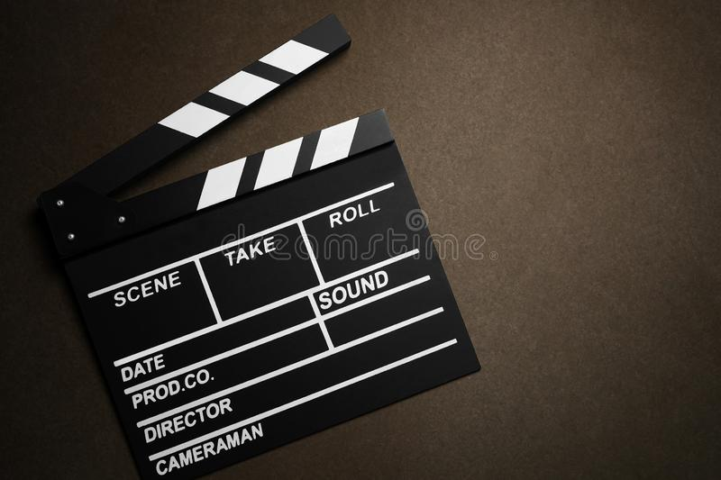 Movie clapper cinema board or Slate film.Clapperboard for filmmaking and video production to assist in synchronizing of picture , stock photography