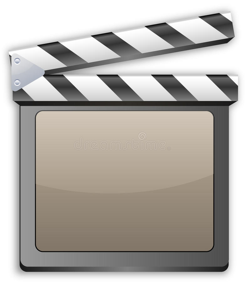 Movie clapper, clapboard, clapperboard, film slate stock illustration