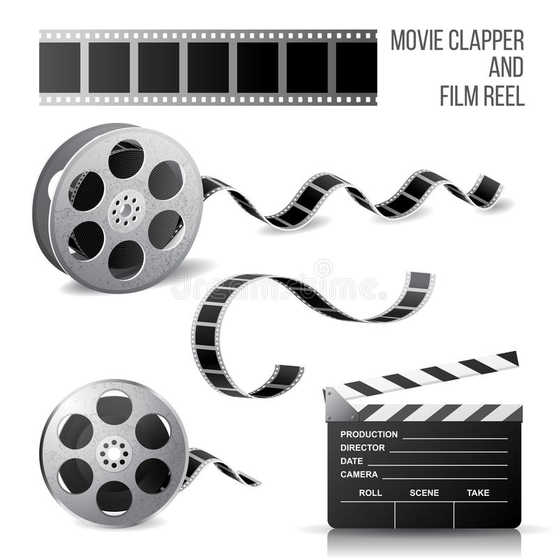 Movie clapper and film reel stock illustration