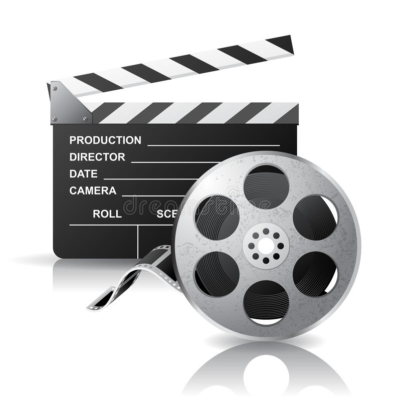 Movie clapper and film reel. Over white background stock illustration