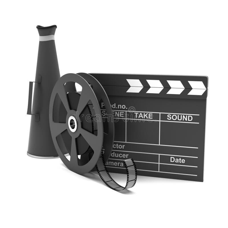 Download Movie Clapper And Film Strip Stock Illustration - Illustration: 26549531