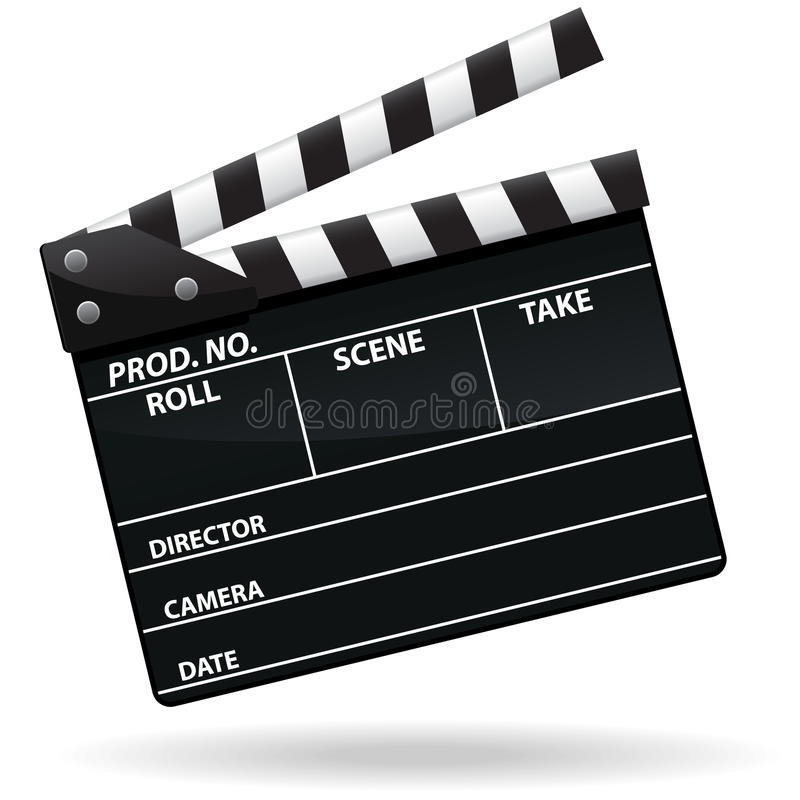 Movie Clapper Icon. An illustration of a glossy movie clapper icon. Shadow placed on separate layer