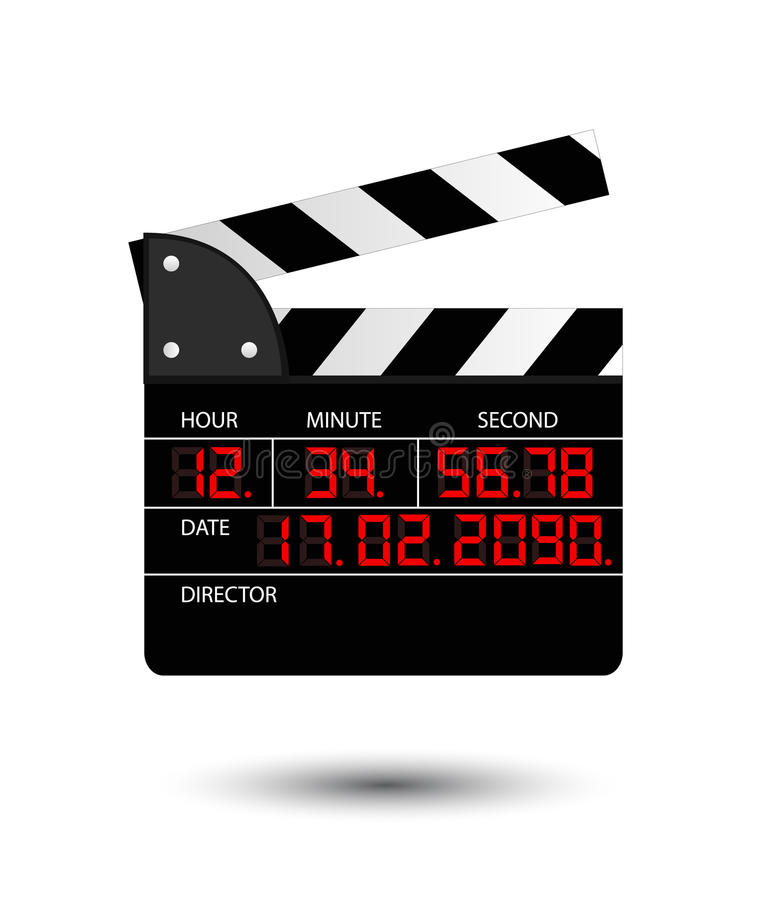 Movie clapper with red digital numbers vector illustration