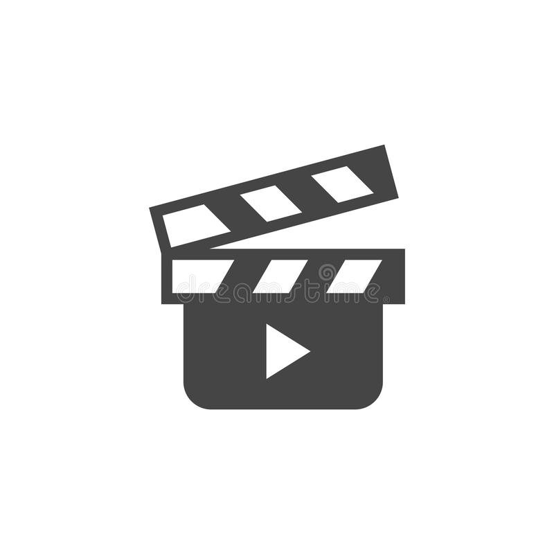Movie clapperboard glyph icon. Cinema symbol. Clapper board flat logo. Tool to shoot video scenes, cinematography label royalty free illustration