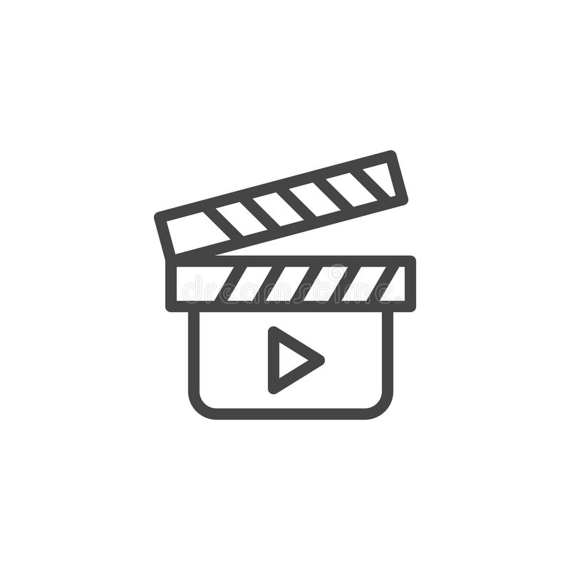 Movie clapperboard outline icon. Cinema symbol. Clapper board emblem. Tool to shoot video scenes, cinematography label royalty free illustration