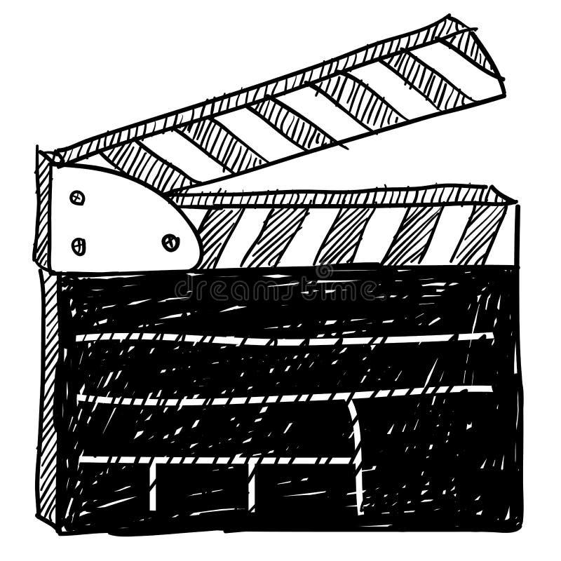 Movie clapperboard sketch. Doodle style movie set clapperboard vector illustration stock illustration