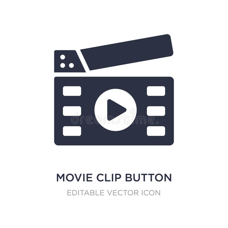 Movie clip button icon on white background. Simple element illustration from Multimedia concept. Movie clip button icon symbol design vector illustration