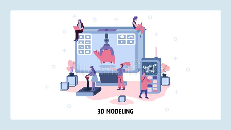 Movie computer graphic CGI and 3d modeling. Team of engineers work on 3d model of dinosaur. Volume rendering technology. Vector web site design template vector illustration