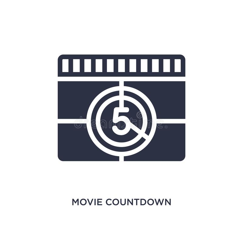 movie countdown icon on white background. Simple element illustration from cinema concept vector illustration