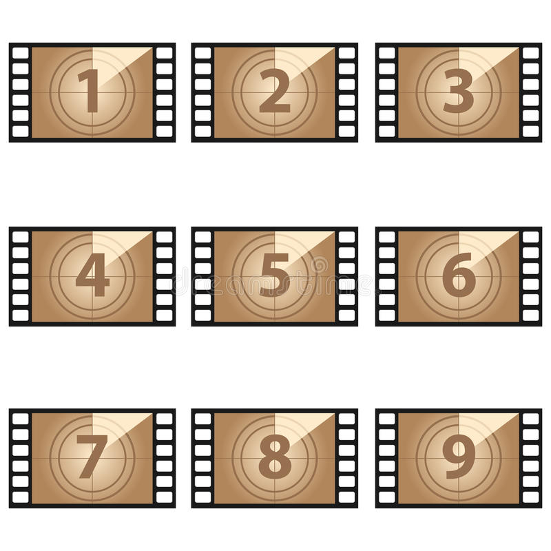 Movie countdown numbers set vector illustration