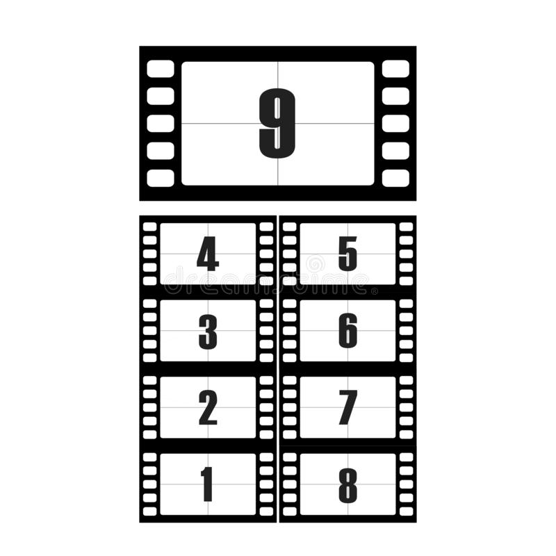 Movie countdown numbers vector set. The countdown to the start of the old film. The timer countdown cinema isolated from the backg stock illustration
