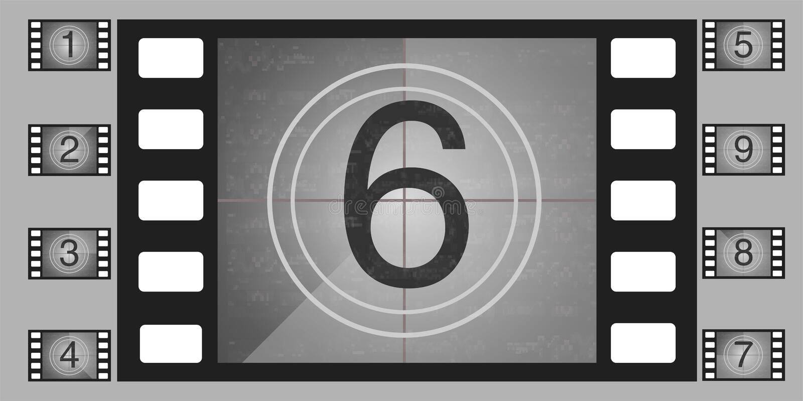 Movie countdown numbers vector set. The countdown to the start of the old film. royalty free illustration