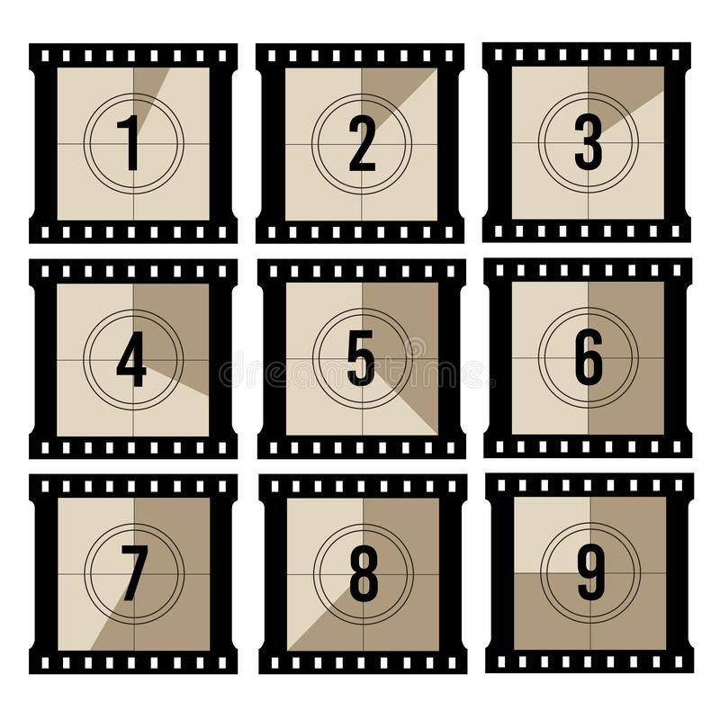 Movie countdown. Old projector film timer counter. Vector vintage filmstrip frames. Illustration of film negative video count time vector illustration