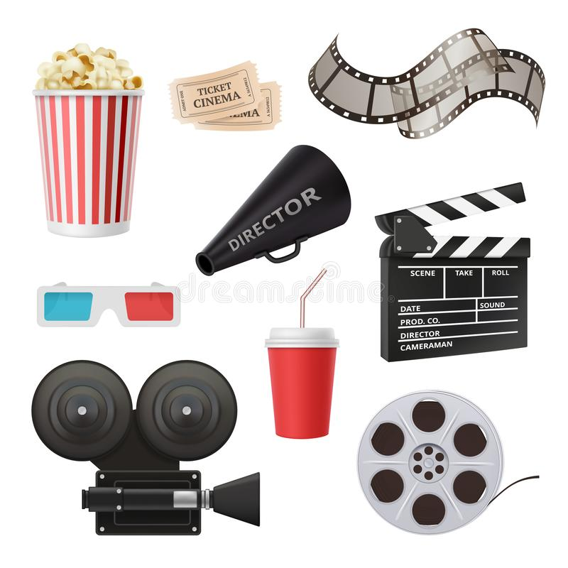 Movie 3d icons. Camera cinema stereo glasses popcorn clapper and megaphone for film production vector realistic pictures. Cinema clapper, video reel and vector illustration