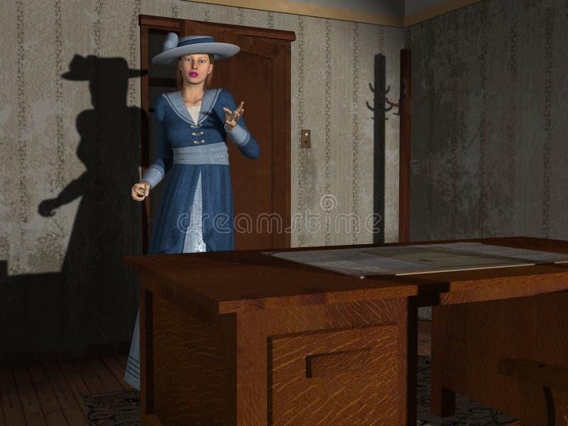 Movie Damsel 3D render royalty free illustration