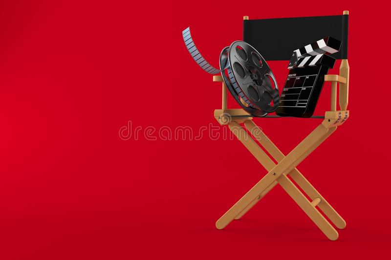 Movie director chair with film reel and clapboard. Isolated on red background. 3d illustration stock illustration