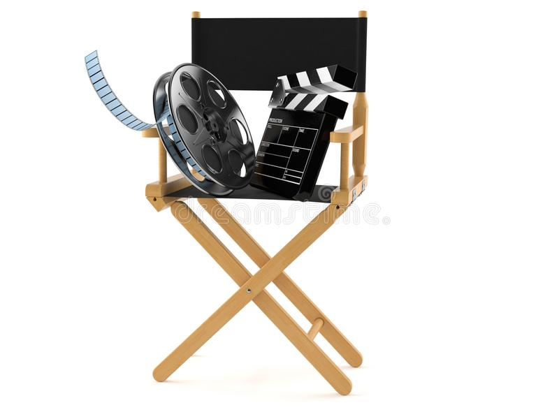 Movie director chair with film reel and clapboard. On white background vector illustration