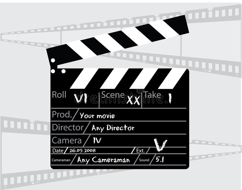 Movie director clapperboard. On a white background royalty free illustration