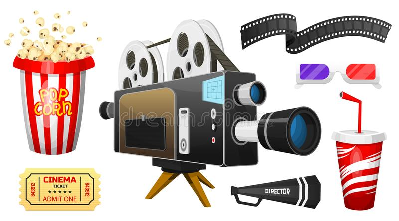 Movie elements set. Vintage cinema, entertainment and recreation with popcorn. Retro poster background. Clapperboard and. Camera, Filmmaking and video cassette stock illustration