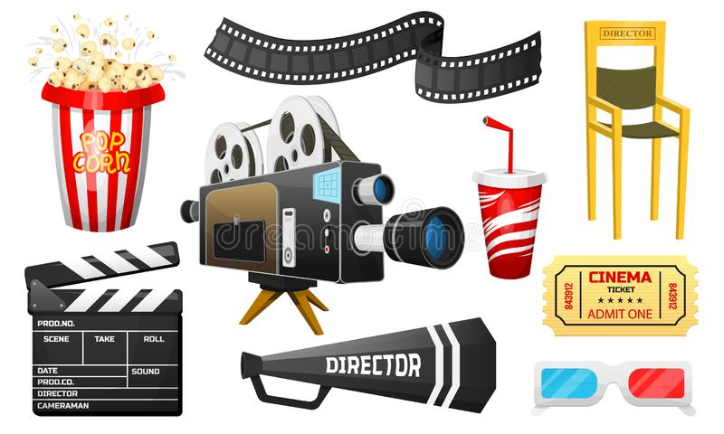 Movie elements set. Vintage online cinema, Popcorn and 3D Glasses. Camera and cinematography, tickets. Filmmaking and vector illustration