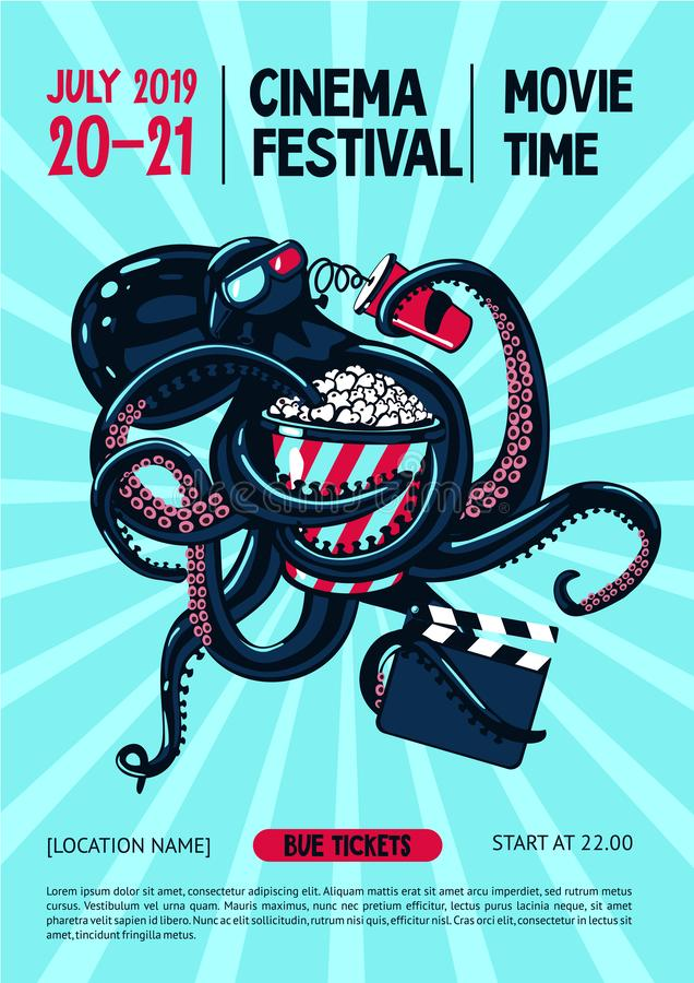 Movie festival poster with octopus and cinema equipment. Cinematography web banner template. Cartoon vector illustration royalty free illustration