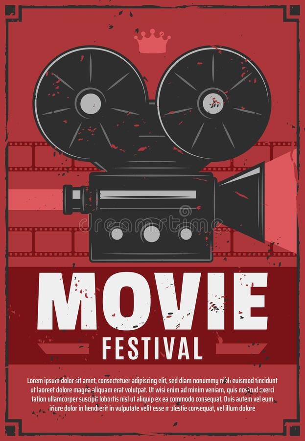 Movie festival, vintage video camera. Movie or cinema festival, vintage video camera with film reels on brick wall. Vector film projection night retro invitation stock illustration