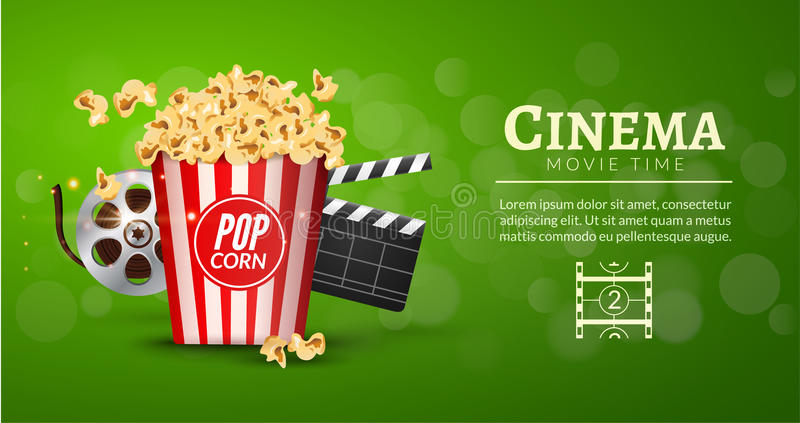 Movie film banner design template. Cinema concept with popcorn, filmstrip and film clapper. royalty free illustration