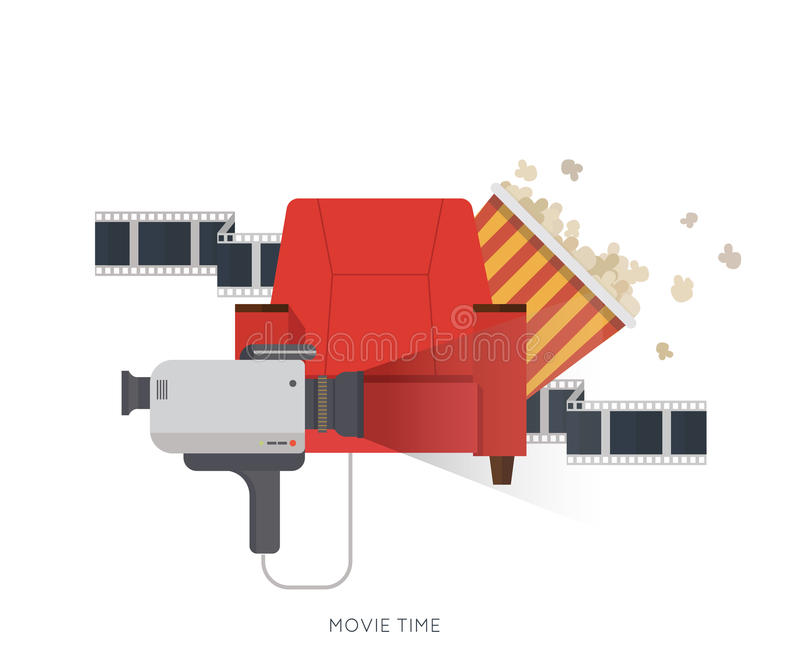 Movie and film concept,design on home movie watching with sofa,popcorn,camera,film. For web, graphic,motion design royalty free illustration