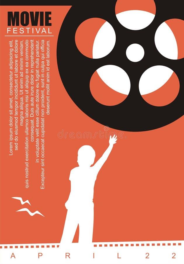 Movie film poster background. With film reel and kid graphic. Artistic cinema poster, flyer, leaflet, brochure or ad design stock illustration