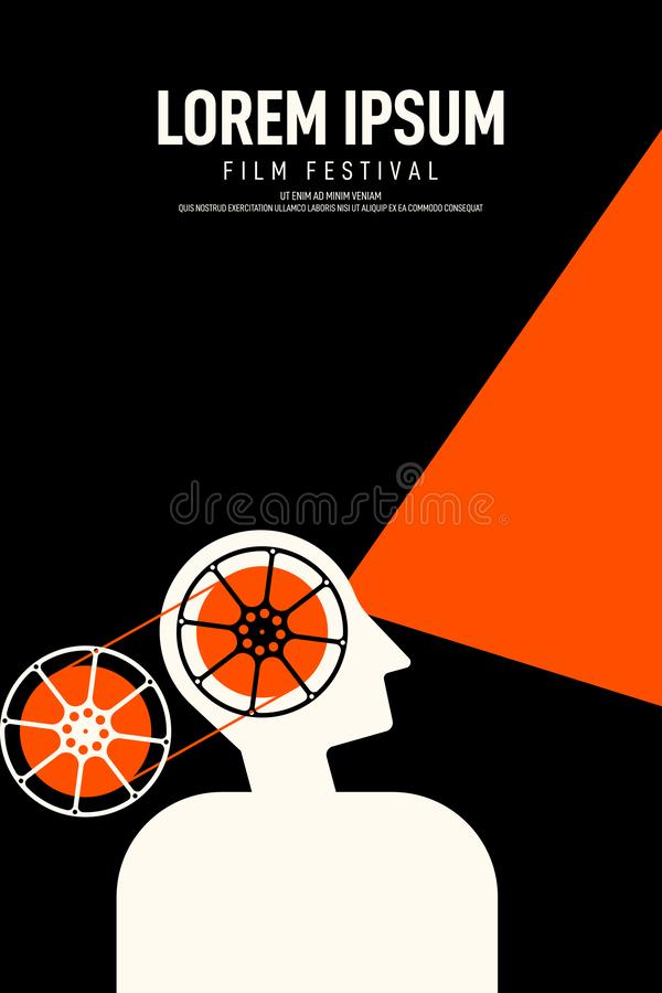 Movie and film poster design template background vintage retro style. Movie and film poster design template background with a man and film reel. Graphic design stock illustration