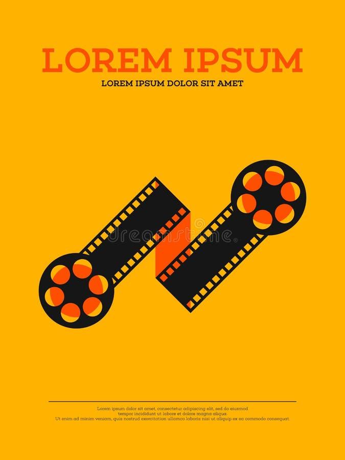 Movie film reel and filmstrip vintage poster illustration. Movie film reel and filmstrip vintage poster background illustration stock illustration
