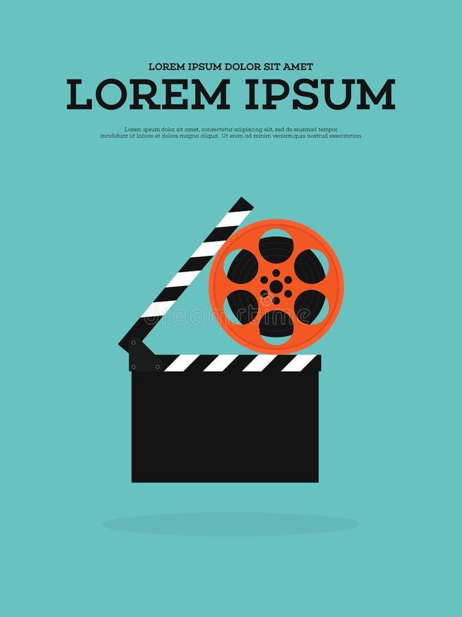 Movie film reel and filmstrip vintage poster illustration. Movie film reel, filmstrip, and clapperboard vintage poster background illustration stock illustration