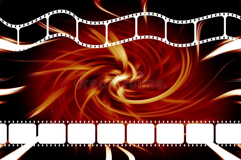 Movie film reel strip. A modern theatre movie 35mm film dvd or reel strip over swirl red and black background vector illustration