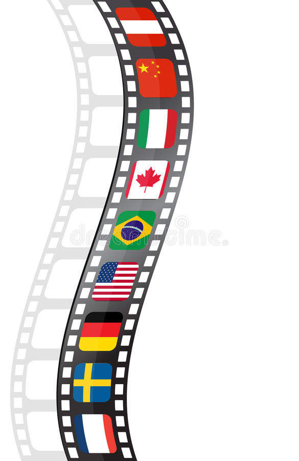 Movie film strip with flags. Movie strip with flags from the world related to international festivals and cinema, vector file available royalty free illustration
