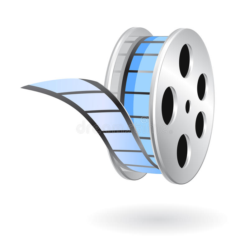 Movie film strip reel stock illustration
