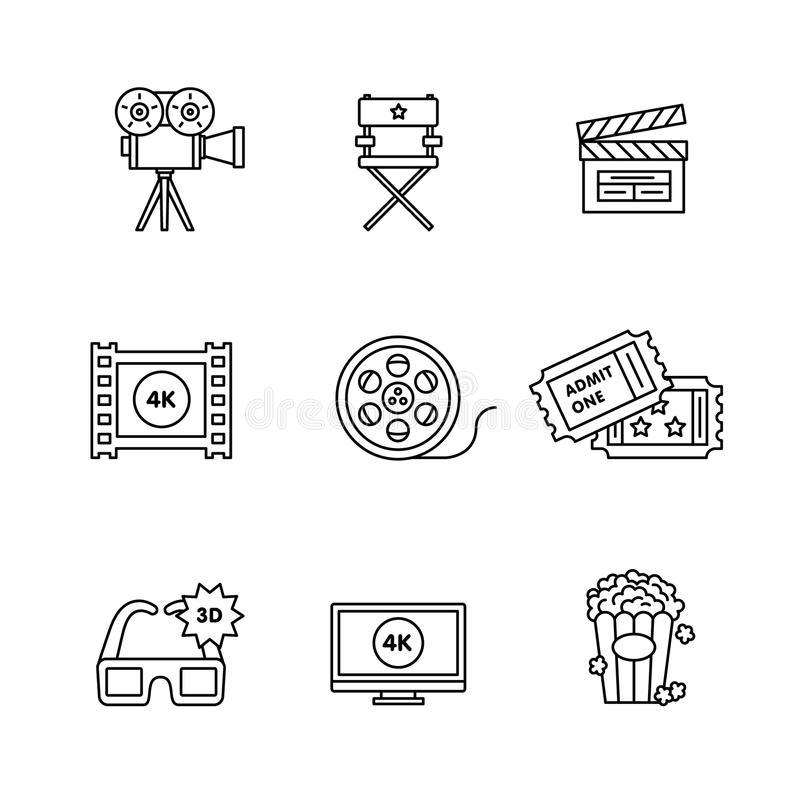 Movie, film and video icons thin line art set. Black vector symbols isolated on white vector illustration
