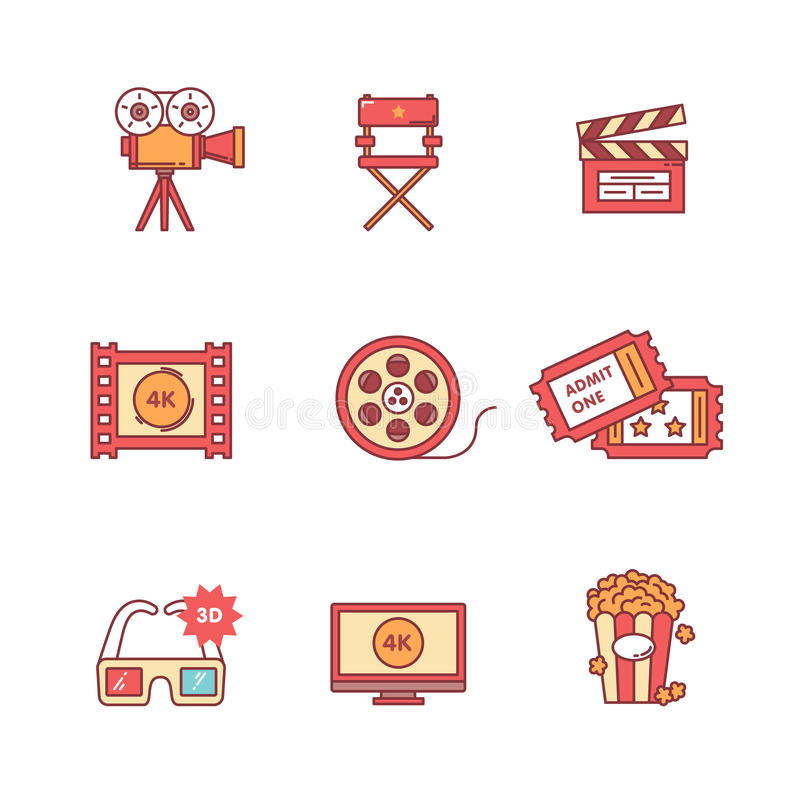Movie, film and video icons thin line set. Flat style color vector symbols isolated on white royalty free illustration