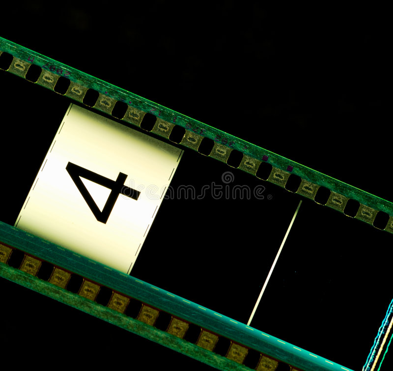 Movie filmstrip. Filmstrip movie header with the number 4 royalty free stock images