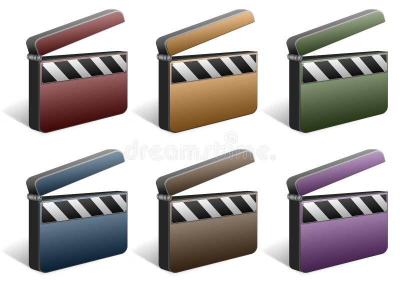 Movie folder icon set. 6 color movie/video folder icon set stock illustration