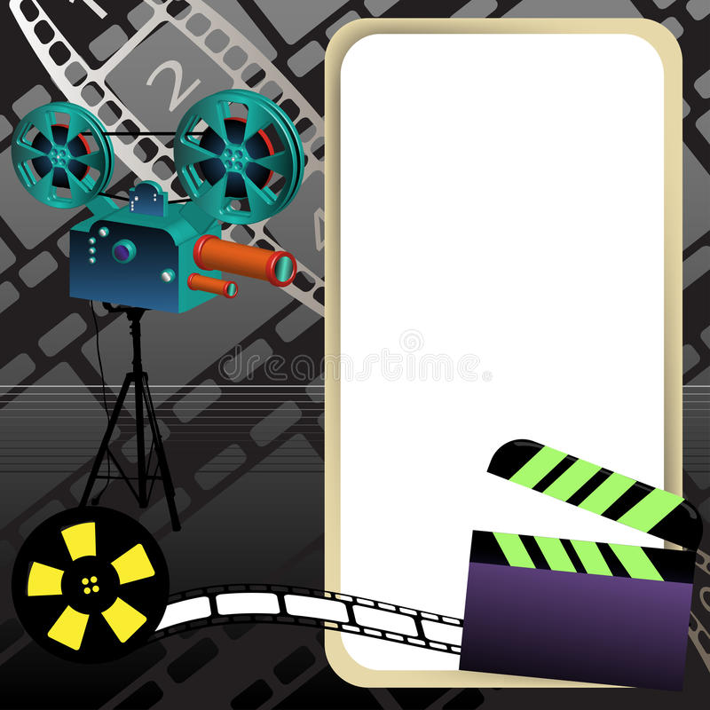 Movie frame. Abstract colorful background with movie projector, clapperboard, film reel, film strip and an empty rounded frame royalty free illustration