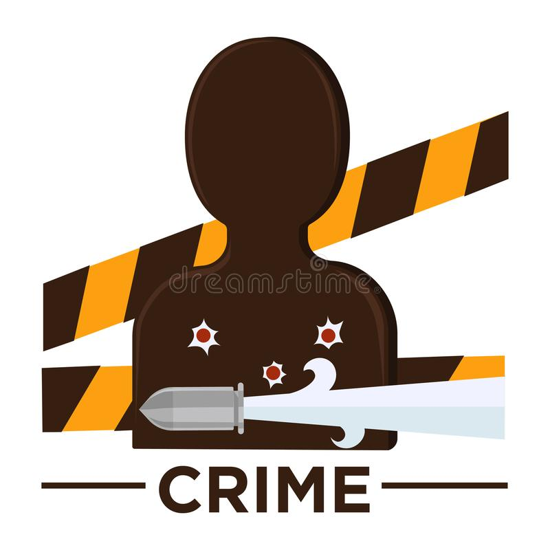 Movie genre crime cinema vector icon of vicitm bullet. Movie genre icon logo crime of man target silhouette, bullet holes and criminal police tape band. Vector stock illustration