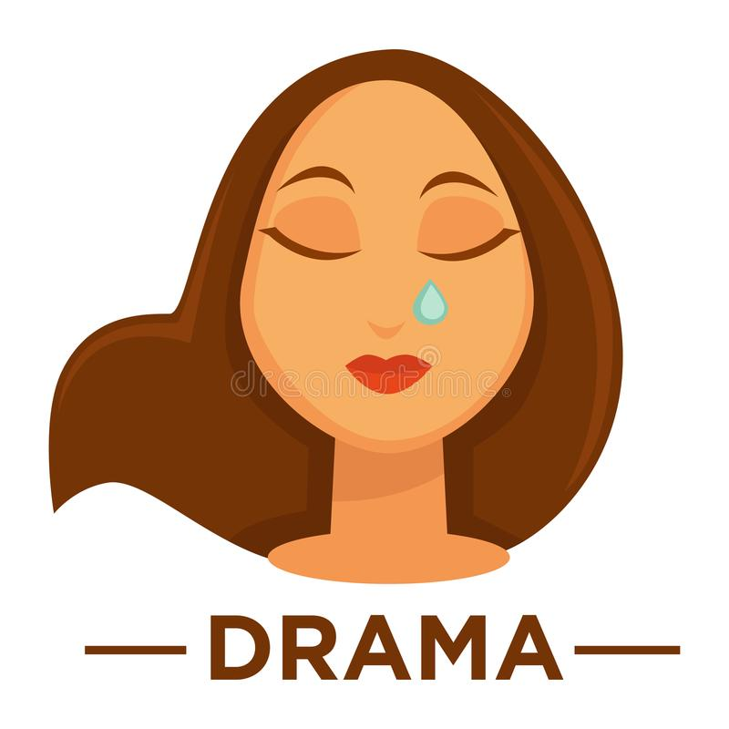 Movie genre drama cinema vector icon of woman crying. Movie genre icon logo drama of woman crying tear. Vector flat isolated symbol template for cinema or vector illustration