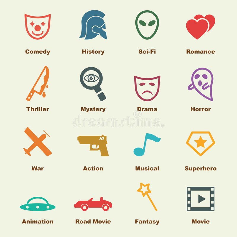 Movie genre elements. Infographic icons stock illustration