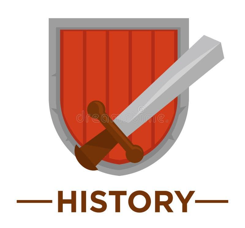 Movie genre history cinema vector icon of ancient royal sword and shield. Movie genre icon logo history of ancient royal sword and knight shield. Vector flat royalty free illustration