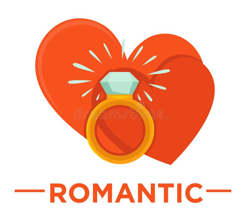 Movie genre romatic cinema vector icon of heart ring. Movie genre icon logo romantic of love hearts and wedding ring. Vector flat isolated symbol template for royalty free illustration