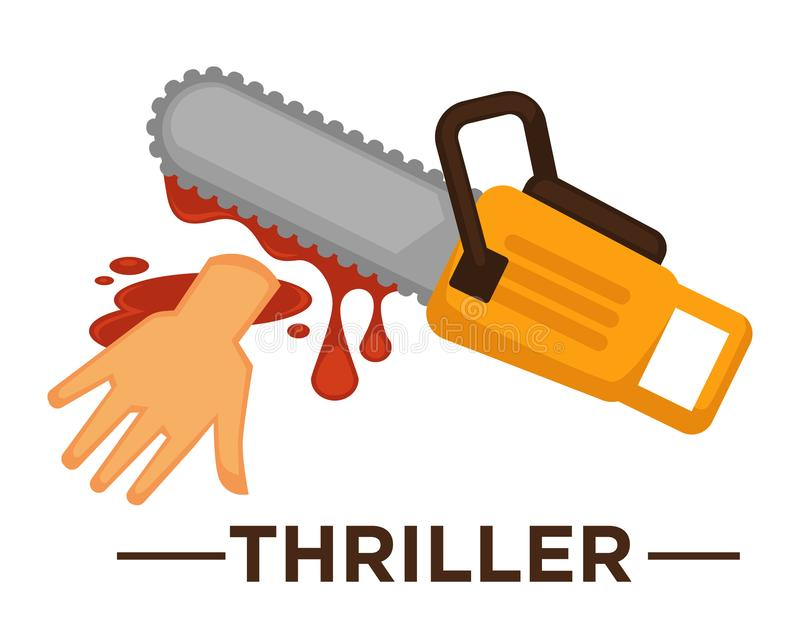 Movie genre thriller cinema vector icon of saw blood. Movie genre icon logo thriller of lsaw and cur hand in blood. Vector flat isolated symbol template for royalty free illustration