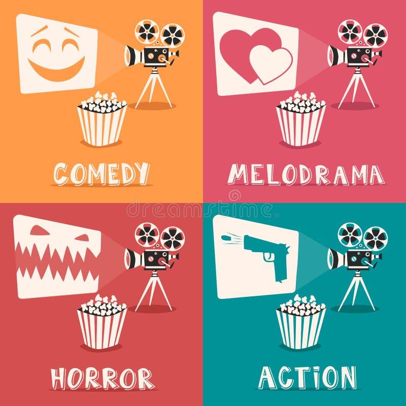 Movie genres poster. Cartoon vector illustration. Film projector and popcorn stock illustration