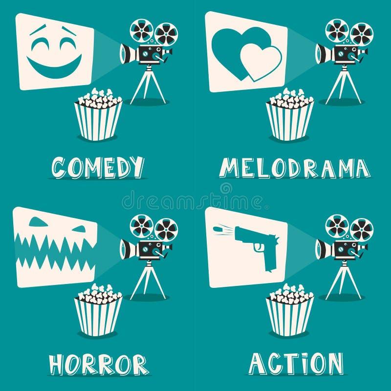 Movie genres poster. Cartoon vector illustration. Film projector and popcorn vector illustration