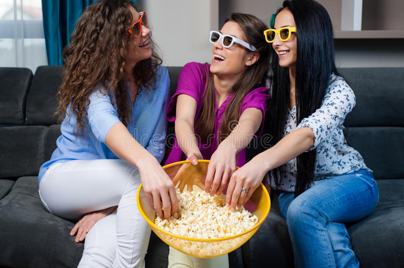 Movie with the girls stock photography