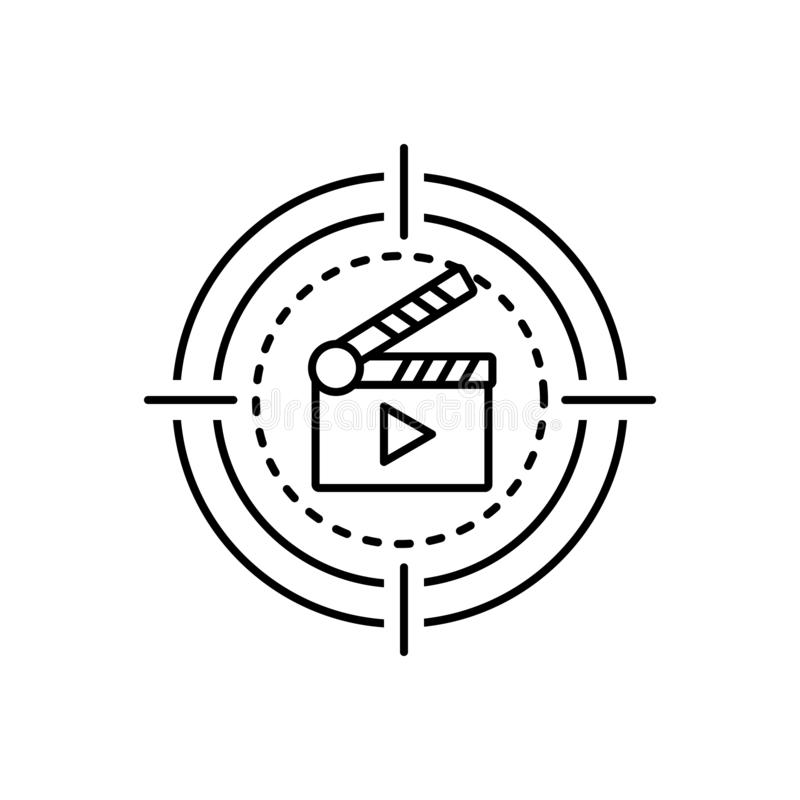 Black line icon for Movie, cinema and film. Black line icon for  movie, video, cinematography, clapboard, entertainment,  cinema and film royalty free illustration